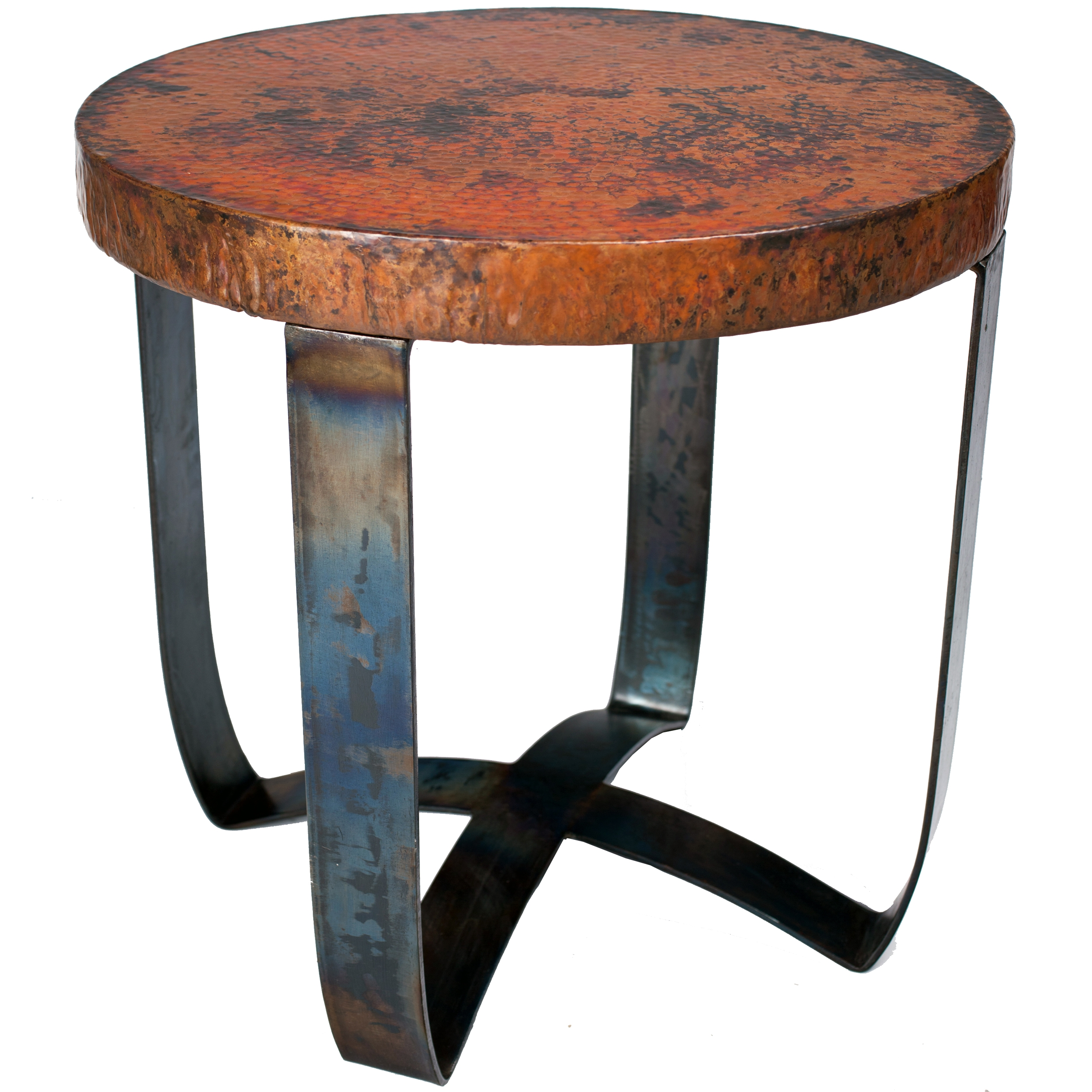 Round Iron Strap End Table With Hammered Copper Top