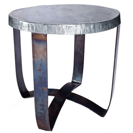 Pictured here is the Round Strap End Table with Wrought iron base and Hammered Zinc Table Top