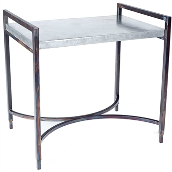 Pictured is the Rectangular Iron Tray Table Base available in 3 finish options and supports a 30 inch by 20 inch table top of your choice.