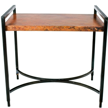 Pictured here is the Rectangular Iron Tray Table with Wrought iron base and Hammered Copper Table Top