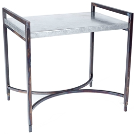 Pictured here is the Rectangular Iron Tray Table with Wrought iron base and Hammered Zinc Table Top