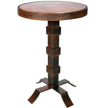 Pictured here is the Lincoln Iron Accent Table with Wrought iron base and Hammered Copper Table Top