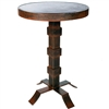 Pictured here is the Lincoln Iron Accent Table with Wrought iron base and Hammered ZincTable Top
