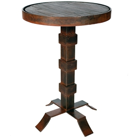 Pictured here is the Lincoln Iron Accent Table with Wrought iron base and Reclaimed Wood Table Top