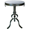 Pictured here is the Carver Iron Accent Table with Wrought iron base and Hammered ZincTable Top