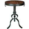 Pictured here is the Carver Iron Accent Table with Wrought iron base and Reclaimed Wood Table Top