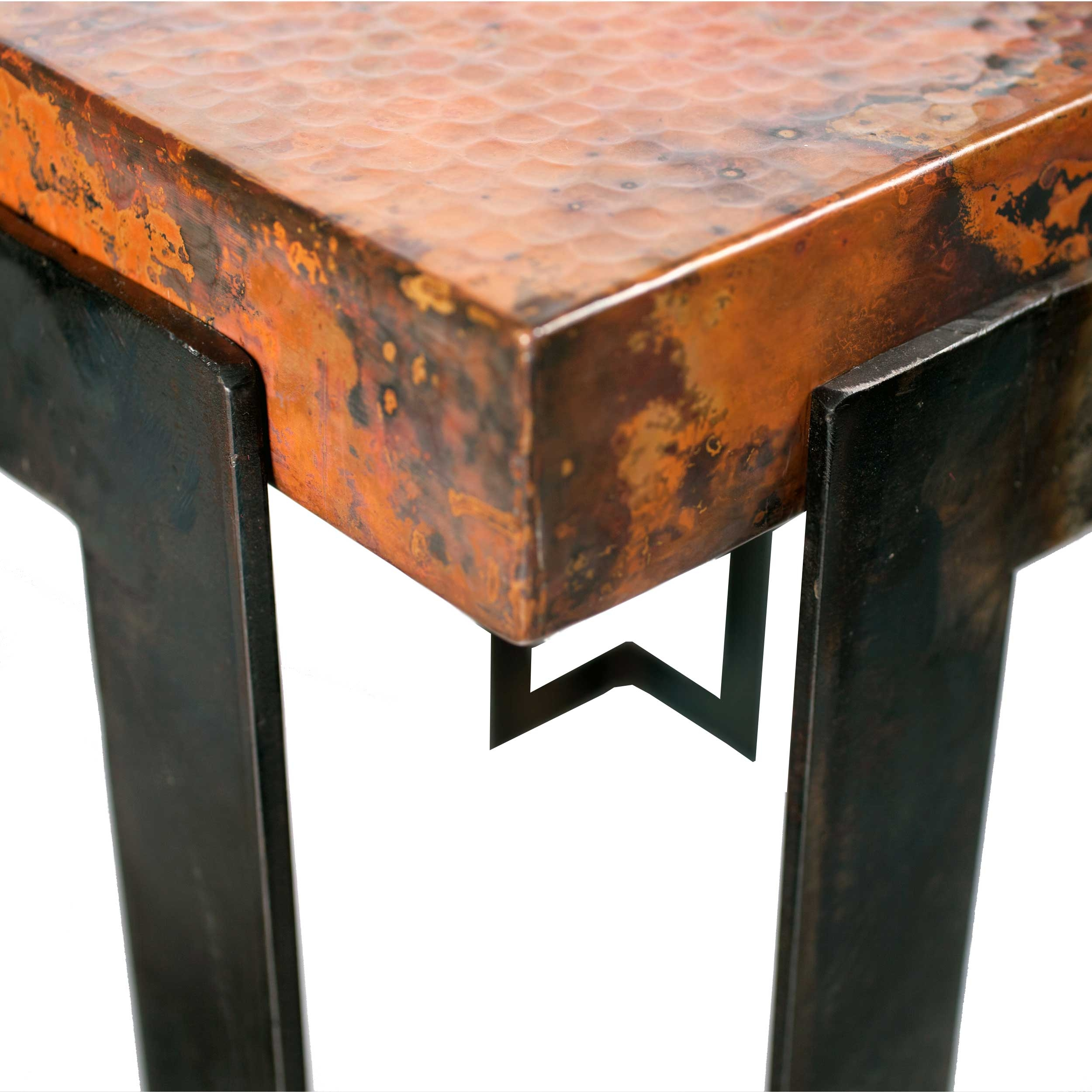 Steel Strap Rectangle Dining Table with Copper Top