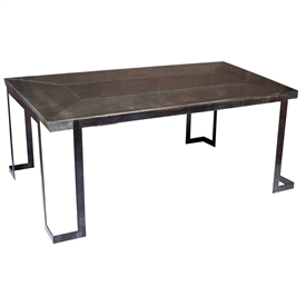Pictured here is the Steel Strap Rectangle Dining Table with Wrought iron base and Rectangle Hammered Zinc Table Top