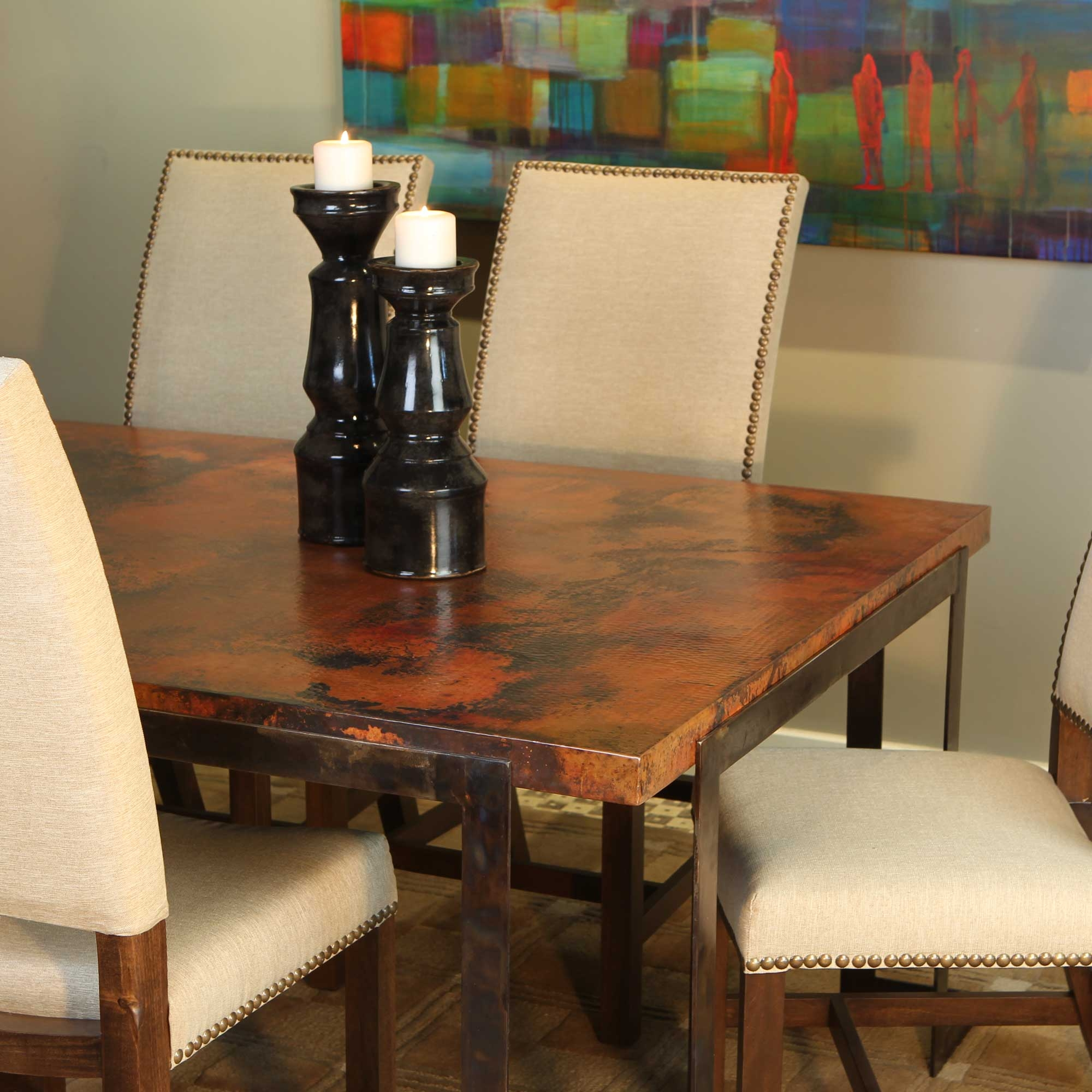 Terrific Steel Strap Rectangle Dining Table With Rectangle Hammered Cjindustries Chair Design For Home Cjindustriesco