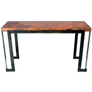 Pictured is the Steel Strap Console Table Base available in 3 finish options and supports a 53.5 inch by 17.5 inch table top of your choice.