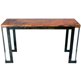 Pictured here is the Steel Strap Console Table with Wrought iron base and Hammered Copper Table Top