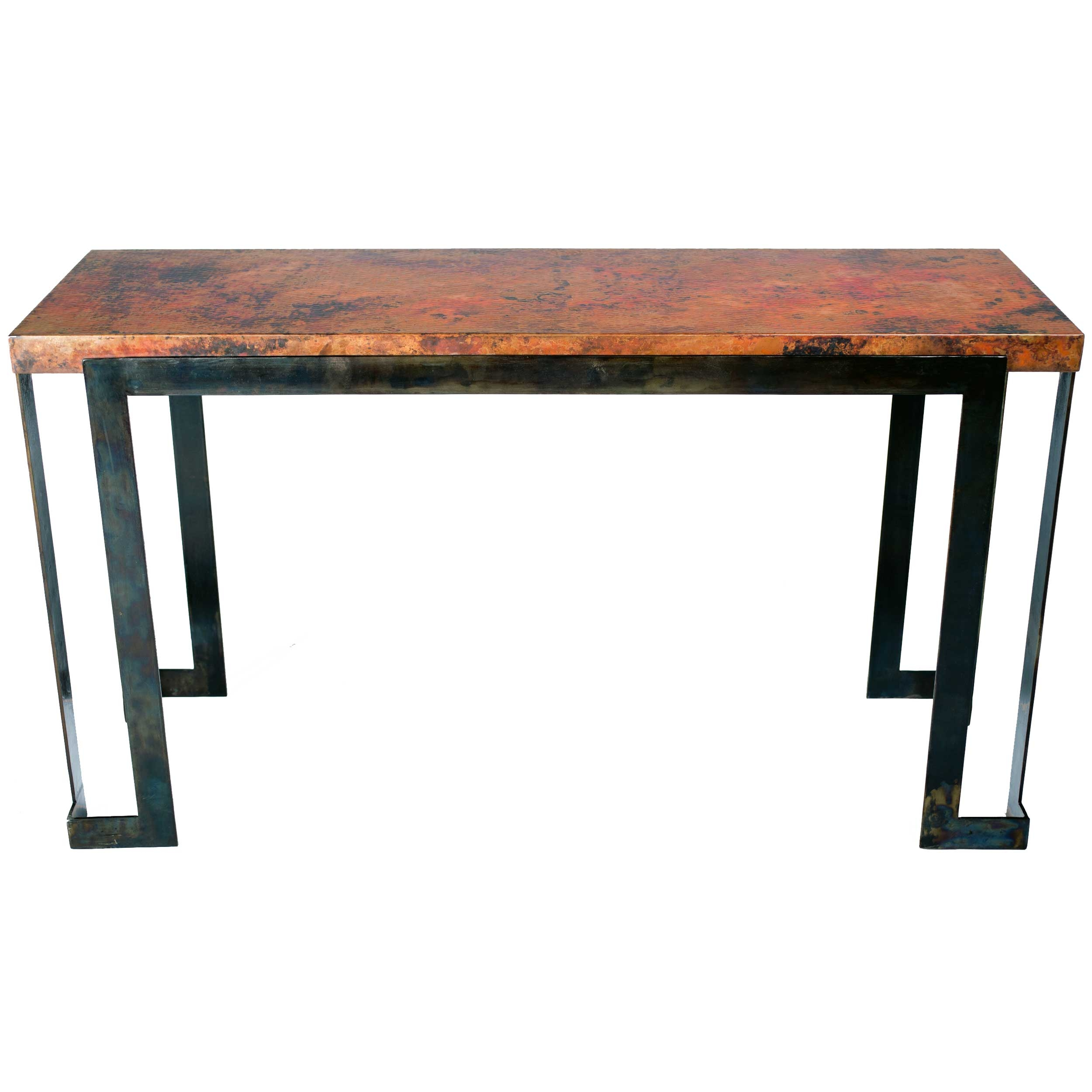 Wrought iron console tables sofa tables shop online pictured here is the steel strap console table with wrought iron base and hammered copper table geotapseo Choice Image