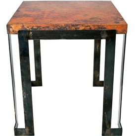 Pictured is the Steel Strap End Table Base available in 3 finish options and supports a 23.5 inch round table top of your choice.