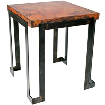 Pictured here is the Steel Strap End Table with Wrought iron base and Hammered Copper Table Top