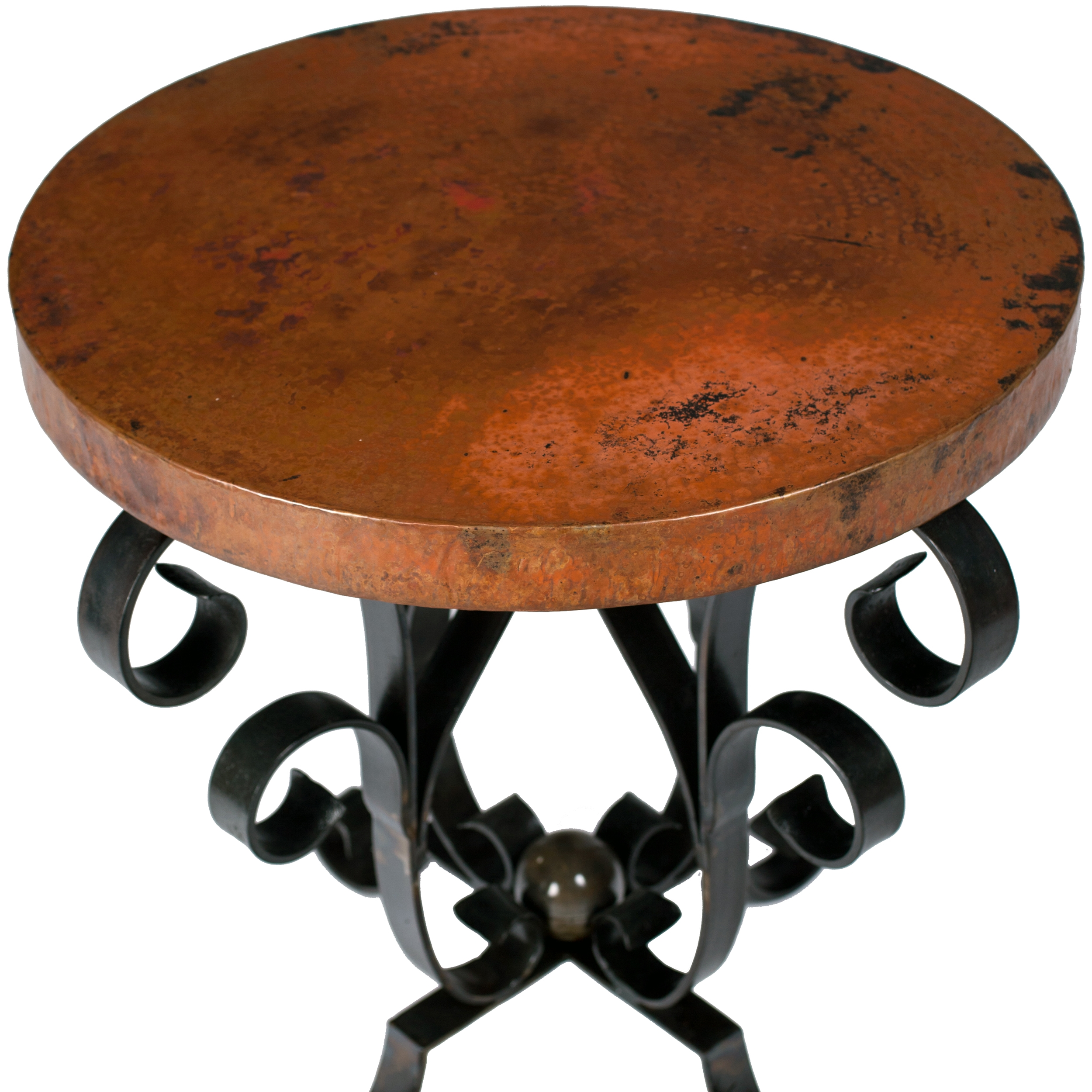 Iron Scroll Accent Table With Hammered Copper Top - Copper top accent table