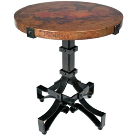 Pictured is the Iron Rivet Strap Accent Table Base available in 3 finish options and supports a 20 inch round table top of your choice.