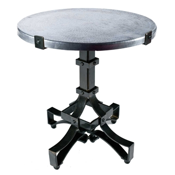 Pictured here is the Iron Rivet Strap Accent Table with Wrought iron base and Hammered Zinc Table Top