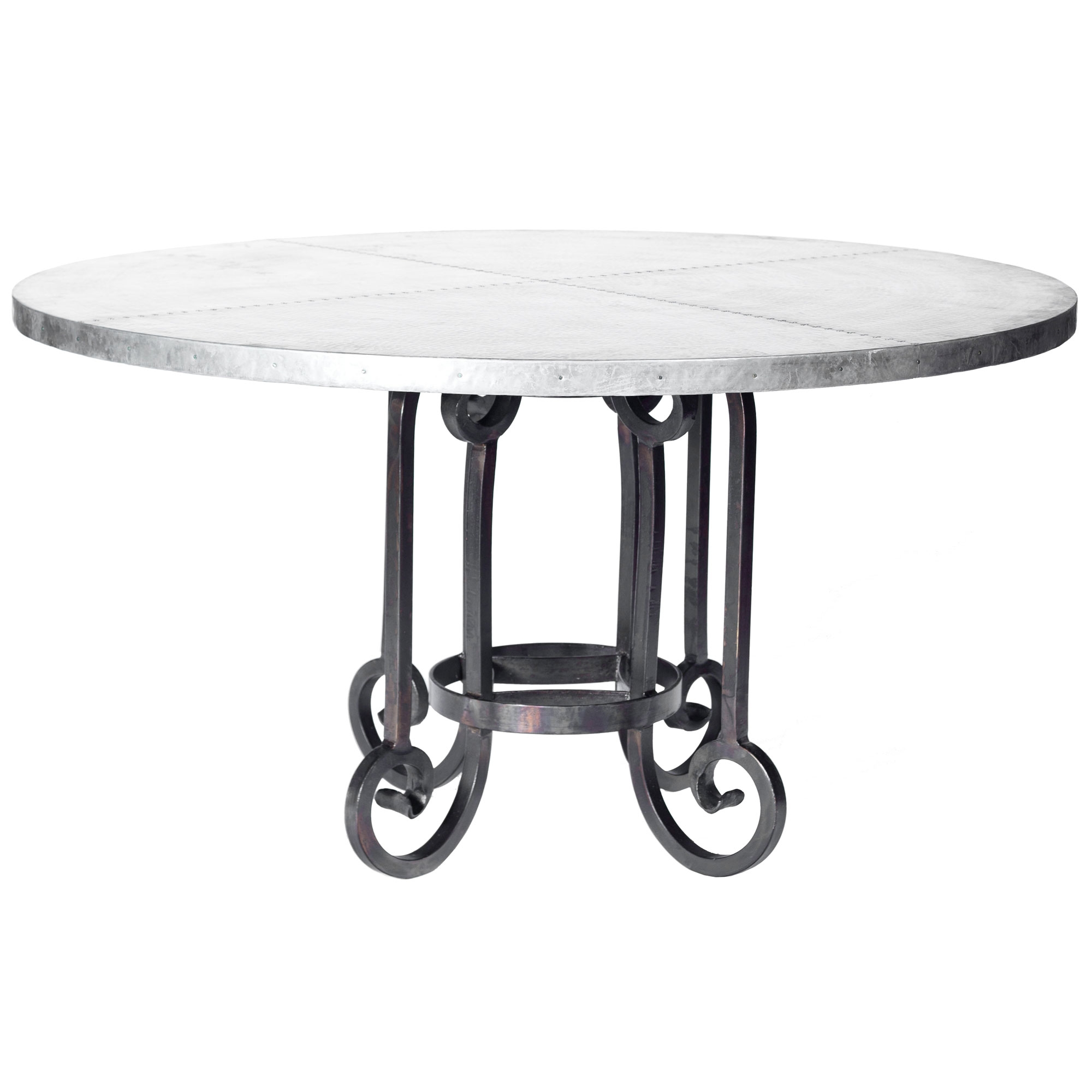 Picture of: Curled Leg Iron Dining Table With 48 In Hammered Zinc Top