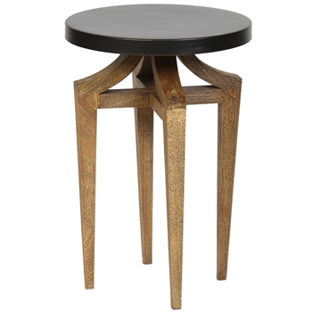 Pictured is the Beverly Accent Table which features a Metal table top and a Wood/Iron frame with a Antique Bronze finish by Prima that measures 16-in x 16-in x 24-in