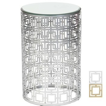 Pictured is the Fenton Accent Table which features a Mirrored Glass table top and an iron frame with your choice of Nickel or Brass finish options by Prima that measures 15-in x 15-in x 22.25-in