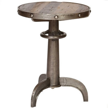 Pictured is the Railway Accent Table which features a Metal table top and an aluminum/Wood frame with a See Image finish by Prima that measures 18-in x 18-in x 23.4-in