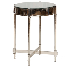 Pictured is the Percussion Accent Table with a Glass table top on a Nickel plated Aluminum frame that measures 20-in diameter by 26-in tall.