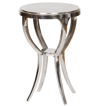 Pictured is the cast aluminum Clark Accent Table with Silver finish, table measures 17inches diameter and stands 25.5 inches tall.
