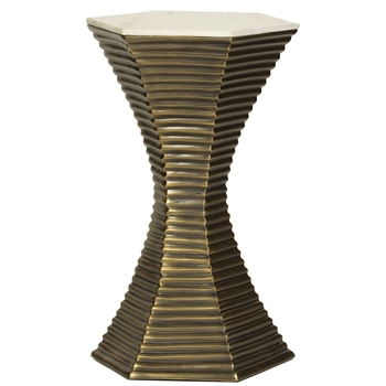Pictured here is the Corset Accent Table with a cast aluminum base finished in antiqued brass and a marble table top. This table measures 15 x 15 x 24.5 inches.