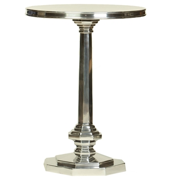 Pictured here is the aluminum Leicester Accent Table with 18 inch diameter table top and 24 inch total height, available in 2 finishes. Tall.