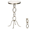 Pictured is the Chain Link Accent Table which features a Marble table top and an aluminum frame with your choice of Antique Pewter or Antique Brass finish options by Prima that measures 11.75-in x 11.75-in x 24-in