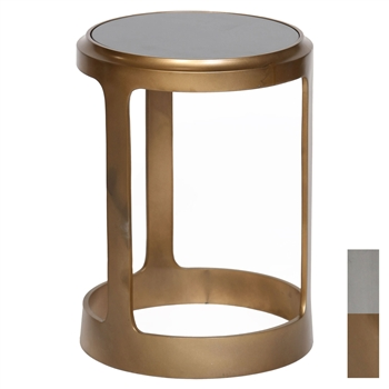Pictured is the Union Accent Table which features a Granite table top and an aluminum frame with your choice of Pewter or Antique Brass finish options by Prima that measures 15-in x 15-in x 25-in