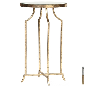 Pictured is the Siehr Accent Table which features a Mirrored Glass table top and a Metal frame with your choice of Silver Leaf or Gold Leaf finish options by Prima that measures 15-in x 15-in x 25-in