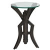 Pictured is the Nut and Bolt Accent Table which features a Glass table top and an aluminum frame with a See Image finish by Prima that measures 15.25-in x 15.25-in x 23.5-in