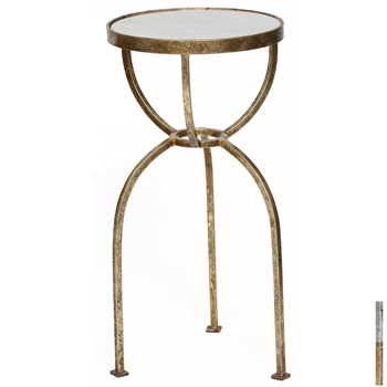 Pictured is the Allcroft Accent Table which features a Granite table top and a Metal frame with your choice of Silver Leaf or Gold Leaf finish options by Prima that measures 12-in x 12-in x 24-in