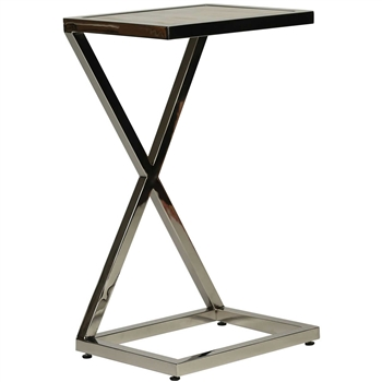 Pictured here is the Modern style Exchange Accent Table with aluminum frame, polished nickle plated finish and inlaid stone table top.