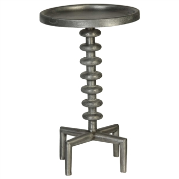 Pictured here is the Industrial style Broughton Accent Table made of cast aluminum parts.
