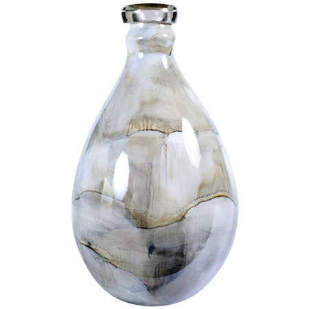 Pictured here is the Smoke colored bottle with lip made by hand from recycled glass.