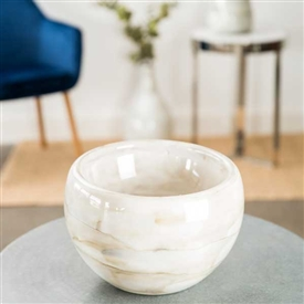 Pictured here is the White Horse Glass Bowl, hand-made from recycled glass.