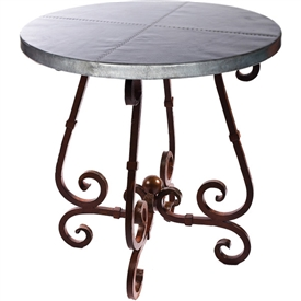 Pictured is the French Counter Table Base available in 3 finish options and supports a 36 inch round table top of your choice.