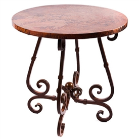 "Pictured here is the French Counter Table with Wrought iron base and 36"" Round Hammered Copper Table Top"