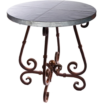 "Pictured here is the French Counter Table with Wrought iron base and 36"" Round Hammered Zinc Table Top"