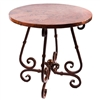 "Pictured here is the French Bar Table with Wrought iron base and 36"" Round Hammered Copper Table Top"