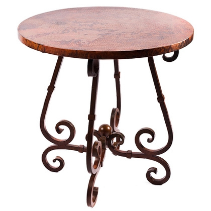 French iron bar table with 36 round copper top larger photo watchthetrailerfo
