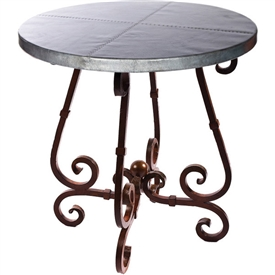 "Pictured here is the French Bar Table with Wrought iron base and 36"" Round Hammered Zinc Table Top"