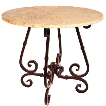 "Pictured here is the French Bar Table with Wrought iron base and 36"" Round Marble Table Top"