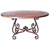 "Pictured here is the French Dining Table with Wrought iron base and 48"" Round Hammered Copper Table Top"