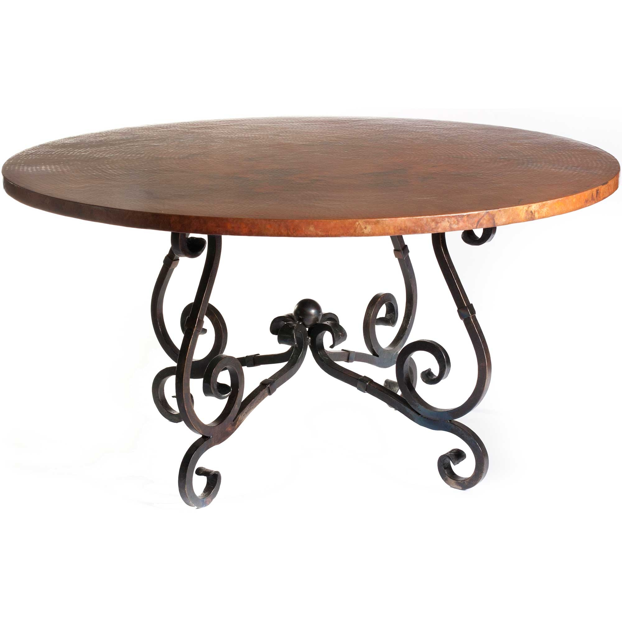 French Iron Dining Table with 48 in Round Hammered Copper Top