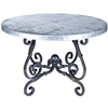 "Pictured here is the French Dining Table with Wrought iron base and 48"" Round Hammered Zinc Table Top"