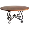 "Pictured here is the French Dining Table with Wrought iron base and 54"" Round Hammered Copper Table Top"