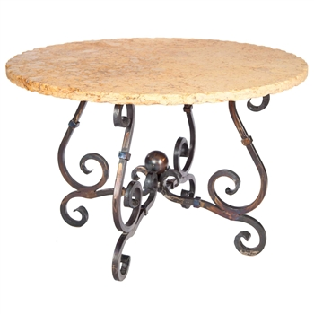 "Pictured here is the French Dining Table with Wrought iron base and 54"" Round Marble Table Top"